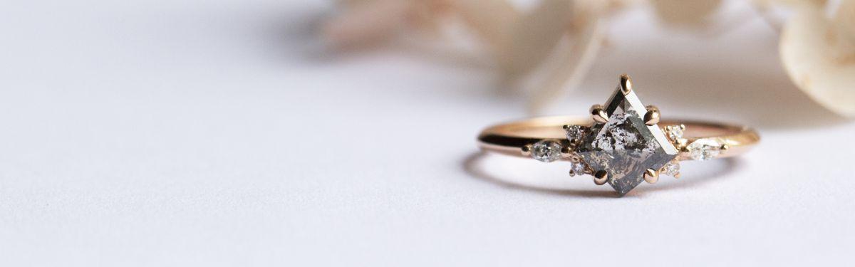 Salt and Pepper Diamond Engagement Rings