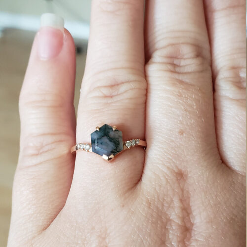 Vera Rose Gold Hexagon Moss Agate Ring photo review