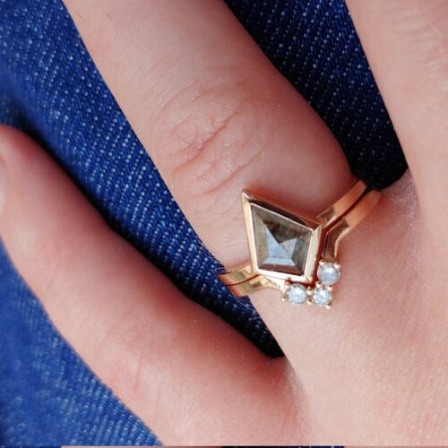 Geometric Kite Brown Salt and Pepper Diamond Wedding Ring Set photo review