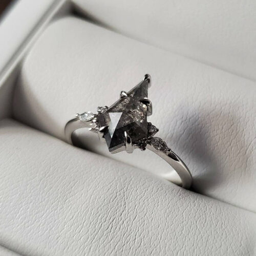 Elongated Kite Salt and Pepper Diamond Engagement Ring with Marquise Side Diamonds photo review