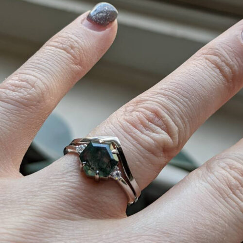Verona Hexagon Moss Agate and Diamond Ring Set photo review