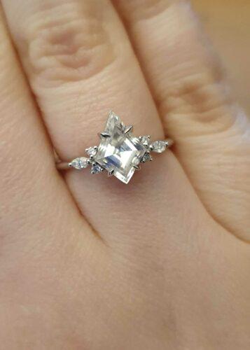 Kite Moissanite and Diamond Engagement Ring photo review