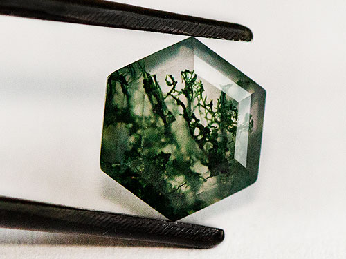 closeup of moss agate gemstone