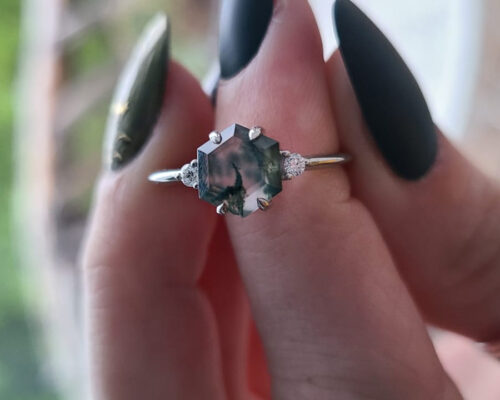 Verona Hexagon Moss Agate and Diamond Ring photo review