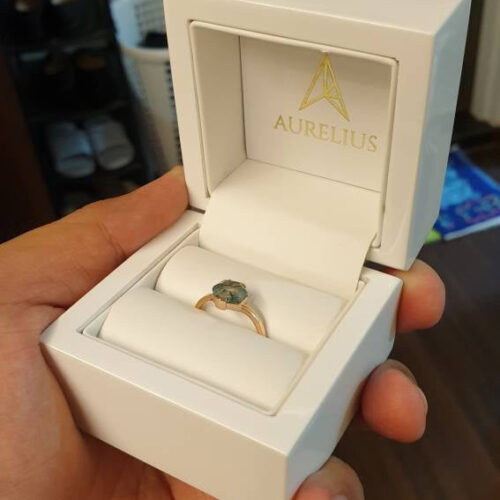 Rose Gold Hexagon Moss Agate Solitaire Ring photo review