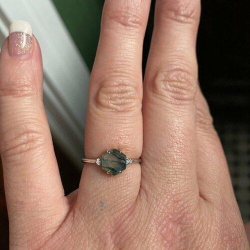 Verona Hexagon Moss Agate and Diamond Ring photo review