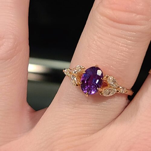 Oval Alexandrite and Diamond Engagement Ring photo review