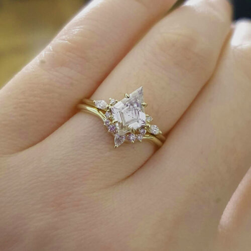 Kite Moissanite and Diamond Engagement Ring Set photo review