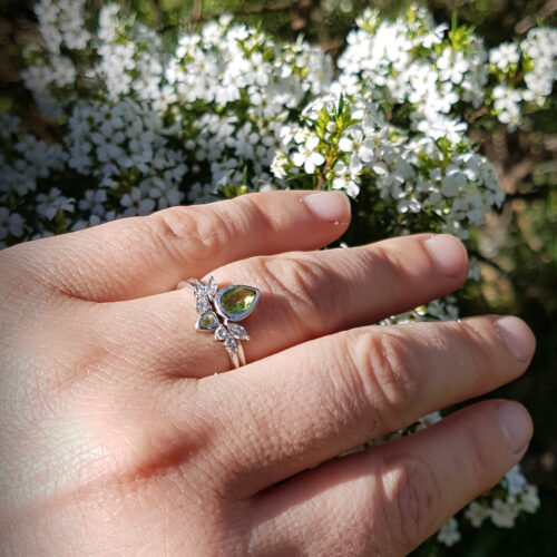 Pear Peridot and Diamond Wedding Ring Set photo review