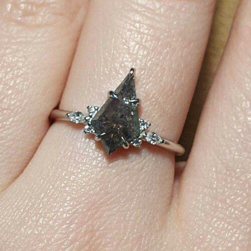 Elongated Kite Salt and Pepper Diamond Bridal Ring Set with Diamond Pave Wedding Band photo review