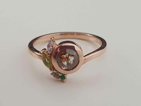 Earth Element – Brown Rose Cut Salt and Pepper Diamond and Peridot Engagement Ring photo review