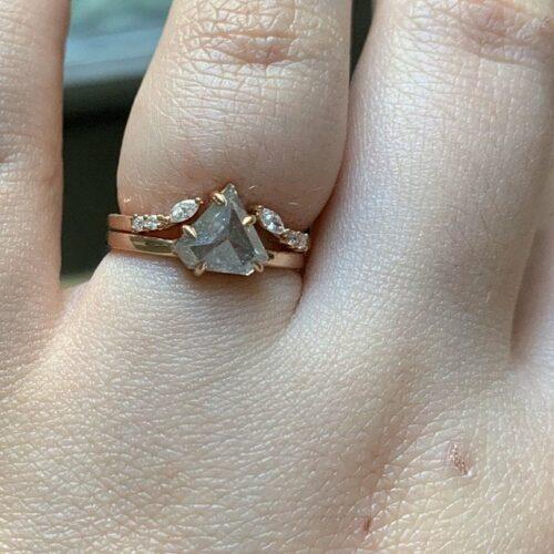 Light Grey Shield Salt and Pepper Diamond Bridal Ring Set photo review
